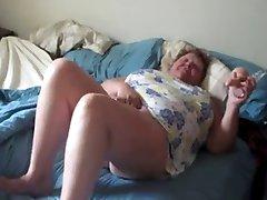 Fat granny horny masturbate while husband films