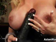 Big black fake cock between this cougar part2
