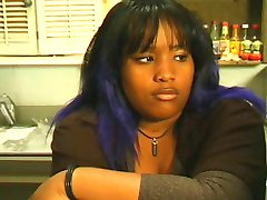 Thick black girl loves dildo play and riding a big white cock in the office