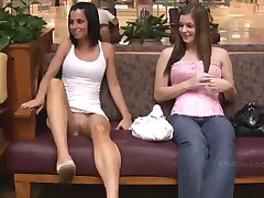 Two pretty girls flashing in public stores