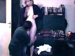 Husband show his hairy wife unaware strip