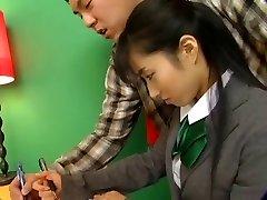 Warm Jap Chick In School Uniform Rides The D