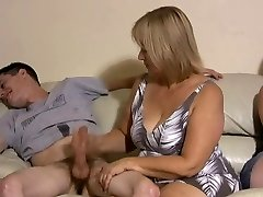 Mother and daughter jerking 2 guys off