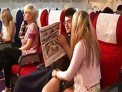 Plane babes raise trays for hot handjob