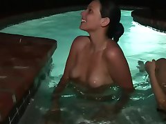 Two hot topless ladies in the pool - DreamGirls