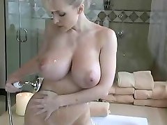 blonde with big tits take shower