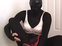 black pantyhose encasement hot pink cock sheath