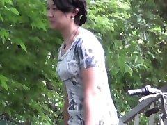 Asian slut caught pissing
