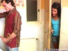 Debbie penetrated in public toilet