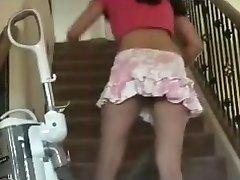 My new maid Vacuums The Stairs No Panties