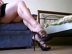 Showing of sexy gams and soles