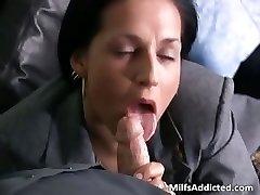 Slutty brunette MILF secretary gets moist part4