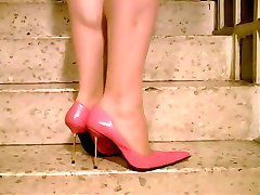 Tan Pantyhose Sexy Stiletto High Heels Pumps on the Stairs