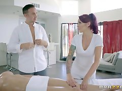 Brazzers - Sexy threesome on the massage table