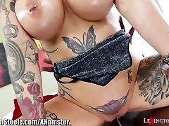 Phat Tits Tattooed MILF on HUGE Ebony Cock