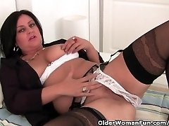 Mature Mom Masturbates In Stocking And Crotchless Underpants