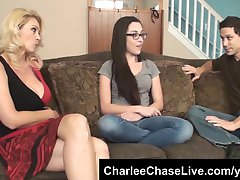 Hot wife Charlee Chase breaks in the horny teen babysitter