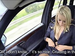 Blonde stewardess has first time car sex