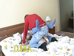 Sexy babysitter fucking on the bed