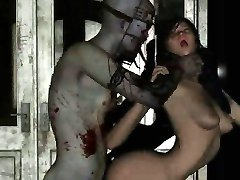 Hot 3D cartoon brunette babe gets fucked by a zombie
