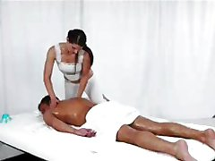 Massage Rooms Young girl has big boobs covere