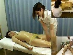 Massage hidden camera films a gal giving hj