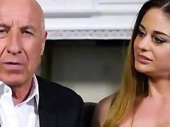 Gorgeous busty latina voyeur joins couple fuck
