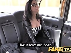 Faux Taxi Spanish brunette with shaved vag
