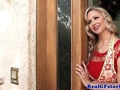 Mature blonde housewife titfucks the milkman