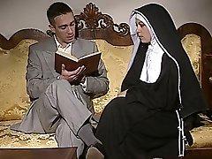 Bashful Nun gets her ass torn up and face spermed
