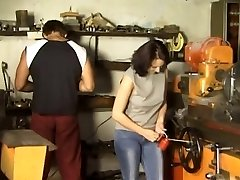 Brown-haired Gangbanged in Workshop
