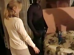 Blonde French wife gangbanged by three ebony dudes. Hubby films