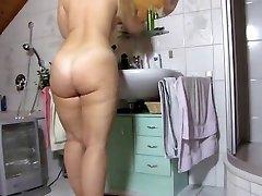 mature haveing a nice bath