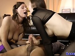 Mature cumswapping threesome with brit milf