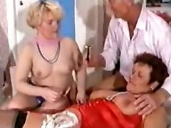 German Mature Threesome - Shaving, Fisting Anal