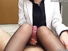 office lady avrunkning nylon leggings strumpbyxor