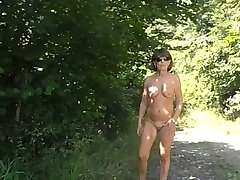 Nice granny nude in forest