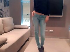 Non-nude super skinny teen dancing in jeans