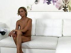 Czech blonde waitress fucks in casting