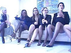 Four busty MILFs get together to play with strap ons