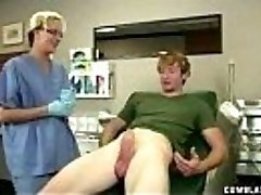 Horny doctor takes advantage of her patient by stroking his hard cock