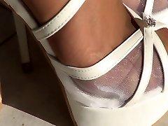 Blanco zapatos de tacón alto