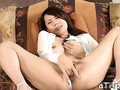 Big hooters japanese hottie enjoys naughty threesome sex