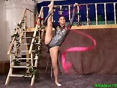 Supple gymnast gets hard fucked fuck-a-thon and oral job