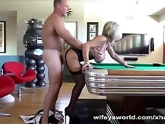 Hubby Fucks Neighbor Arched Over Pool Table