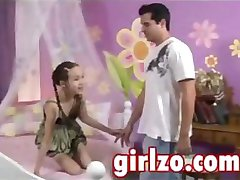 Very young girl is seduced by an older guy with really big dick