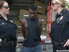 Caucasian police ladies fucks black scofflaw in threesome