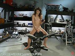 Amazing amateur girl tries fucking machines