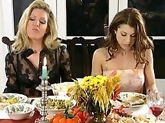 Lezzy dinner and spanking party