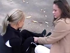 Beautiful blonde and dark ebony haired lesbos